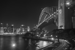 Sydney Harbour Bridge in Black and White (Lenny K Photography) Tags: city bridge bw white black tourism water night point photography long exposure harbour sydney free australia milsons kirribilli