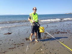 Tevin Schmitt sampling Sandy beach infauna at Goleta Beach 05-21-15
