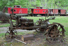 Cool Springs Cabooses (jterry618) Tags: tractor abandoned unitedstates caboose westvirginia derelict steamengine steamtrain narrowgauge rowlesburg steamlocomotive coolspringspark