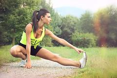 Darika R. (vince_enzo) Tags: parco sun hot sexy girl yoga pose short brunette tight fitness ghiaia stretching italiana fluo mediterranea viale modella