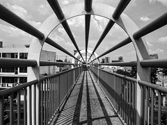 Curvy Bridge (elweydelasfotos) Tags: vanishing point perspective lines sky black white blanco y negro scratches steel structure architecture detail abstract street night style life art artist conceptual
