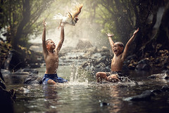 N13_9871 (Bugphai ;-)) Tags: life park travel family two people holiday tree nature boys water animal creek children indonesia asian fun thailand happy duck friend funny play natural outdoor joy culture lifestyle vietnam malaysia toss myanmar splash laos coutry