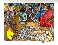 Fish Market in The Grand Bazaar, Pondicherry, India (tacoart) Tags: watercolor watercolors market bazaar pondicherry india fishmarket