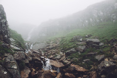 Water on Water (Alex Holyoake) Tags: scotland unitedkingdom gb mountain mountainrange bennevis river hill rockface driving mirror car clouds mist