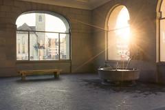 Fountain of Youth - Helmhaus - Zrich - Switzerland (Nonac_eos) Tags: luminositymask zrich photostroll zurich highdynamicrangeimaging sunset helmhaus lensflare felix fraumnster exposureblending wasserkirche nohdr regula svizzera ch