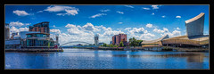 The Salford Quays (Kevin From Manchester) Tags: architecture bbc canon1100d canon1855mm colorfull england greatermanchester hdr kevinwalker lancashire manchester mediacity outdoor panorama panoramic river rivermersey salfordquays sky water waterfront waterways