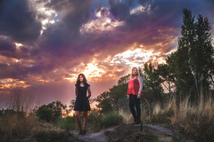 Tia-&-Morgan-sunset (Hummingdust) Tags: sunset utah utahphotographer portrait color nature naturallight beautifullight girls ogden nikon 35mm clouds cloudporn sunlight outdoors outside