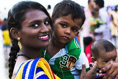 INDIA (BoazImages) Tags: india woman smile smiling happiness family motherhood bombay bihari culture makeup lipstick indian feminine female baby toddler boazimages