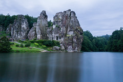 Externsteine (Fabian F_) Tags: externsteine morning stone teutoburger wald german detmold water mystic legend rock