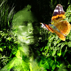 The Green Man (Lemon~art) Tags: mannequin green man nature landscape pond redadmiral butterfly texture manipulation photocomposite insect migrant england