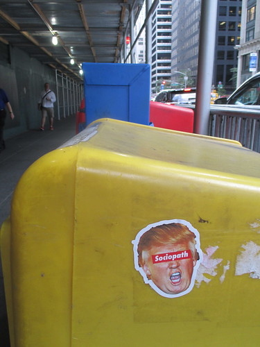 Graffiti Sticker Trump with Sociopath Sign Over Eyes 3316