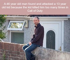 He looks like he would do that (PuzzleCubes) Tags: interesting facts puzzlecubesworld 46yearsold attack 13yearsold kid callofduty cod videogames crazy