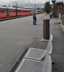 Bookcrossing release (zimort) Tags: bok book bookcrossing wildrelease benk bench train tog stasjon gjvik norge norway