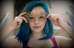 Masked [Explore May 16th, 2015 #27] (Luv Duck - Thanks for 15M Views!) Tags: bigeyes mask greeneyes californiagirls bluehair prettygirl genevieve select prettysmile mardigrasmask
