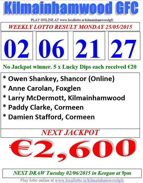 Kilmainhamwood GFC Lotto Results Sheet 25.05.15