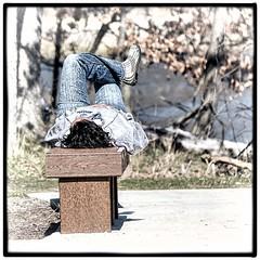 Good Day Sunshine (Wes Iversen) Tags: people frames women brighton michigan milford framing benches hbm kensingtonmetropark benchmonday tamron150600mm