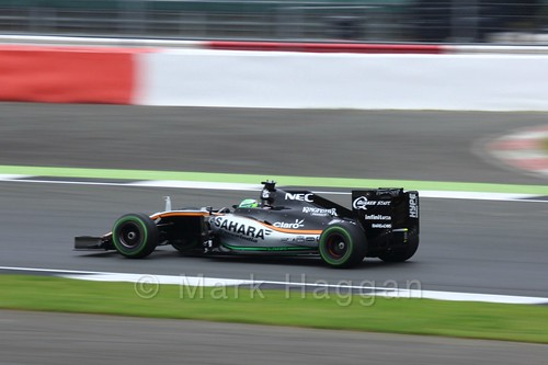 Nico Hülkenberg in his Force India during Free Practice 3 at the 2016 British Grand Prix