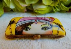 Limoges France Peint Main Porcelain Trinket Box ~ Woman Sunglasses (Donna's Collectables) Tags: limoges france peint main porcelain trinket box ~ woman sunglasses