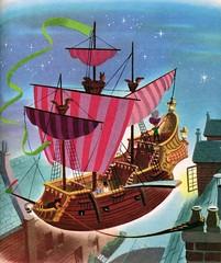 Captain Hook's Pirate Ship by Al Dempster (Tom Simpson) Tags: aldempster peterpan disney illustration vintage littlegoldenbook childrensbook animation captainhook pirateship ship wendydarling flyingship fly flying