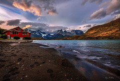 The Only Red House (Ping...) Tags: light patagonia house lake snow mountains beach sand wind wave redhouse torresdelpaine dramaticsky patagoniachile