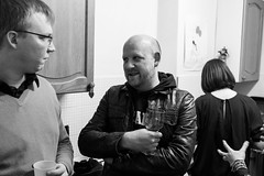 It's my birthday so I'm having a house party (Gary Kinsman) Tags: candid unposed fujix100t fujifilmx100t london 2016 nw5 kentishtown party houseparty blackwhite bw night late availablelight ambientlight highiso talk talking kitchen