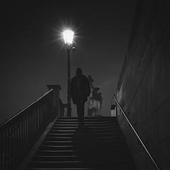 Up (Vesa Pihanurmi) Tags: charlesbridge night prague praha shape figure lantern lamppost statue sculpture streetphotography karlvmost monochrome blackandwhite stairs dark