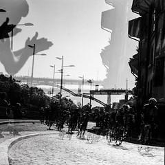 Le Tour de France  Berne (II) (widmerstefan) Tags: bw film analog cycling schweiz switzerland blackwhite suisse noiretblanc multipleexposure sw bern rodinal schwarzweiss berne ilfordpanf cyclisme letourdefrance radsport mehrfachbelichtung mamyiarz67