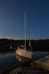 Swedish summer night (Per-Karlsson) Tags: yatch boat sailboat yatching sweden westcoast westsweden bohusln bohuslan bavaria30cruiser night moonlight longexposure canoneos6d sigma sea seascape water waterscape tranquility stillness marstrand