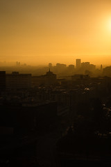 Slouching Towards Santa Monica (hjl) Tags: california downtown haze losangeles silhouette skyline smog sunset twilight