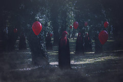 Red balloons (MargaritaP.) Tags: colors conceptual red forest mysterious dark witchcraft witch witches ballons magic redhair redheads canon surreal