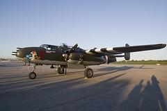 Hot Gen B-26 in position to run. (Stephen Gardiner) Tags: hamilton ontario 2016 canadianwarplaneheritagemuseum lancster flyingfortress mitchell worldwar2 b17 b25 avro boeing northamericanaviation night plane aircraft propeller noseart pentax k3ii 1645