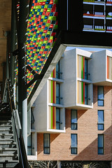 TMP-C5DM31-13725.jpg (Tristan McLaren) Tags: activate louvres lighting graphic feature kimberley decorative colour modern angled university geometric northerncape architecture facebrick creative places africa pattern building screen closeup abstract facade concrete structure steps design light panel exterior stairs splitlevel louvers layer solplaatje shapes southafrica education educational 2016 steel architectural architects detail