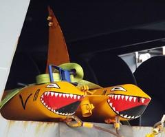 Sharks on FGS Werra A514 @ West India Dock 10-05-15 (AJBC_1) Tags: uk england london boat ship unitedkingdom military navy vessel canarywharf nato warship bundeswehr schnellboot germannavy navalvessel westindiadock fastattackcraft deutschemarine gepardclass type143a 7schnellbootgeschwader dlrblog gepardclassfastattackcraft ajc 7thfastpatrolboatsquadron bundeswehrnavy
