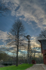 Windmill @ Bonneyville Mill Park (tquist24) Tags: trees sunset sky tree windmill silhouette clouds bristol geotagged evening nikon unitedstates indiana hdr bonneyvillemillcountypark nikond5300