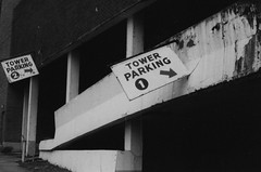 Majestic parking (johnmooney782) Tags: blackandwhite film nikon kodak nikonf3 50mmf14 filmphotography