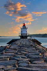 Sunrise Spring Point Ledge (Jerry Fornarotto) Tags: lighthouse seascape clouds sunrise portland landscape dawn rocks jetty maine newengland moo hdr eastco