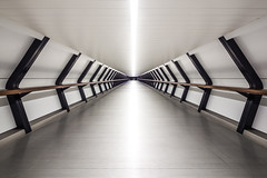 Tunnel (davidcl0nel) Tags: city white abstract london architecture night canon vanishingpoint shift pedestrian tunnel symmetry clean architektur canarywharf 2016 onecanadasquare 17mm canon5dmarkiii tse17mmf4l
