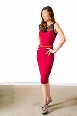 Model Sophia Chen (Tex Texin) Tags: red girl fashion female model exposure slim profile brunette sophia casting reddress chen shapely highheeled