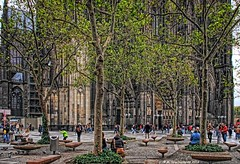 Benches outside Kolner Dom (Cologne Cathedral) in Cologne Germany (PhotosToArtByMike) Tags: colognecathedral colognegermany dom cologne benches germany koln gothicarchitecture klnerdom highcathedralofsaintspeterandmary oldtown rhineriver oldquarterofcologne europe