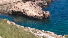 Bay and cliffs at Puglia, Italy (dizzyfrench) Tags: blue sea italy holiday swimming warm cliffs puglia