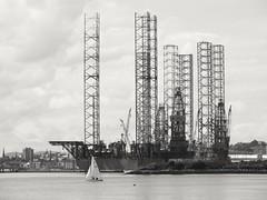 Legs (iwbaird) Tags: dundee scotland oil rigs outdoors blackandwhite monochrome fuji bridgecameras