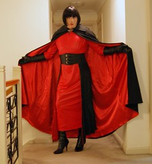 Red Again (10) (Furre Ausse) Tags: red black leather vintage belt long dress boots wide full gloves cape cloak satin length lined