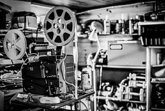Off to the Movies (paulledger81) Tags: projector 16mm film monochrome nikond3x spools movies deserted