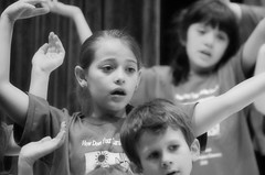 2016-04-07 (165) Fred D ES 2nd grade show (How Does Your Garden Grow) evening (JLeeFleenor) Tags: photos photography virginia va leesburg loudouncounty frederickdouglass elementaryschool twins inside indoors youthactivities youth skit bw blackwhite monochrome