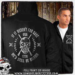If it weren't for guns, we'd still be British. Skull T-Shirt. (Sons of Liberty Tees) Tags: comeandtakeit liberallunacy molonlabe patriot pc politicalcorrectness progun rednationrising sonsoflibertytees teaparty threepercent