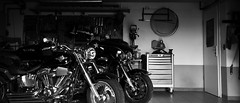 No place to be right now (mexou) Tags: bikes motorcycles garage bw harleydavidson