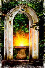 The Portal of Enlightenment (Matt. Create.) Tags: lighting trees light sun white green leaves yellow urn arch portal