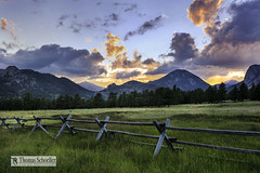 Front Range Sunset near Estes park, Colorado (Thomas Schoeller Photography) Tags: colorado colorful sunset lumpyridge devilsgulch estespark therockymountains therockies rmnp ranch ranchland fence pasture outdoorphotography outdoorphotographer westernusa sceniclandscapes fineartprints fineartnature nature ecotherapy
