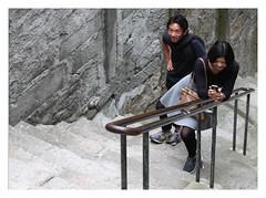Reflexivity & reciprocity at a Porto stairway (AurelioZen) Tags: europe ribeira tourists portugal porto stairway streetphoto people