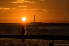 FAWLEY FISHERMAN (mark_rutley) Tags: hampshire leeonsolent fawley sunset fishing sea coast beach
